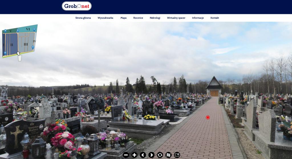 Przykładowy widok wirtualnego spaceru po cmentarzu