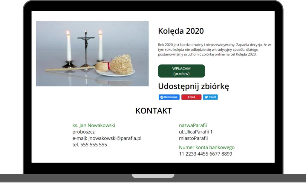 organizacja zbiórek, kwest, ofiar na tacę online
